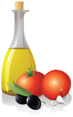 Tomatoes, garlic and bottle with olive oil on a white background.