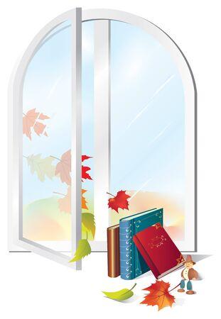 Open window, autumn leaves, books.