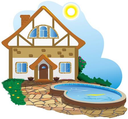 Lovely house with a swimming pool in the yard. Stock Illustratie