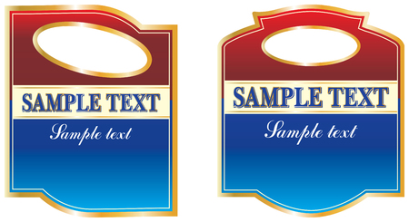 Set of labels in burgundy , blue, gold and white.