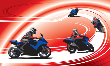 Motorcycles racers on the track, red background.