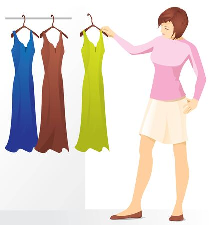 A young brunette woman chooses a dress, three dresses hang on hangers.