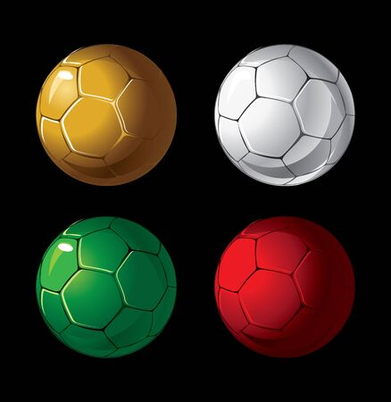 Four soccer balls of different colors on a black background.