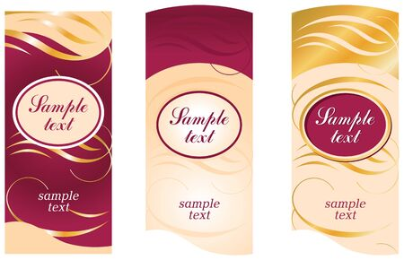 Vertical label in beige and burgundy colors with wavy gold lines and an oval.