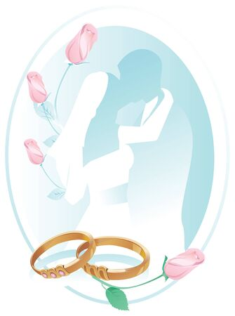 Blue wedding card with pink roses, rings and the silhouette of a kissing couple. Ilustrace