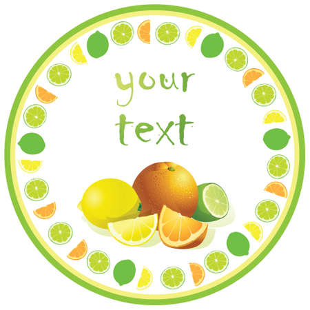 Bright round label with citrus fruits and place for text.