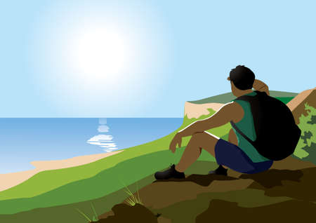 A tourist sits on a mountain and enjoys the view of the sea. Иллюстрация