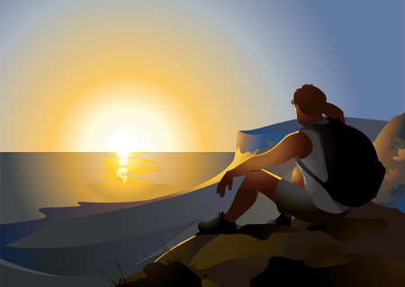 A tourist sits on a mountain and looks at the sunrise over the sea.