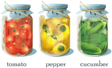 Three glass jars with cucumbers, tomatoes and peppers.