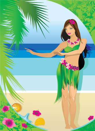 Young girl in Hawaiian clothes on the background of the beach, sea and palm leaves. Vector