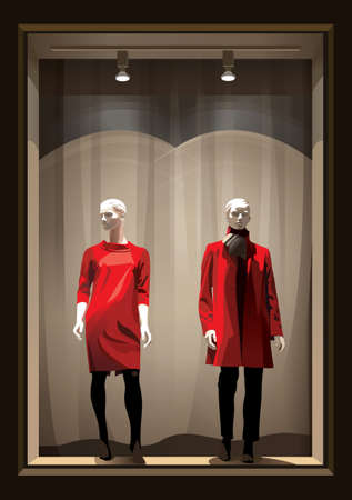 Vertical showcase with two mannequins dressed in red and black clothes with light.Vector.