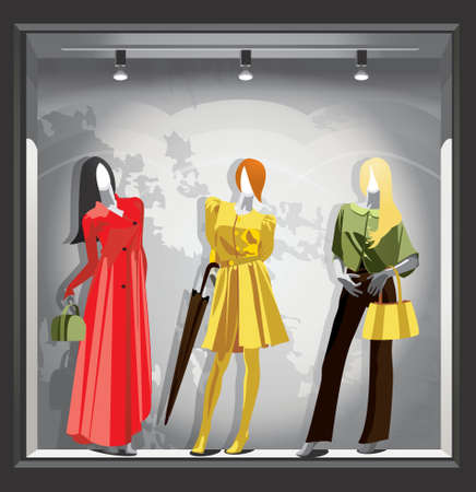 Female mannequins in bright autumn clothes in a gray storefront. Vector Vecteurs