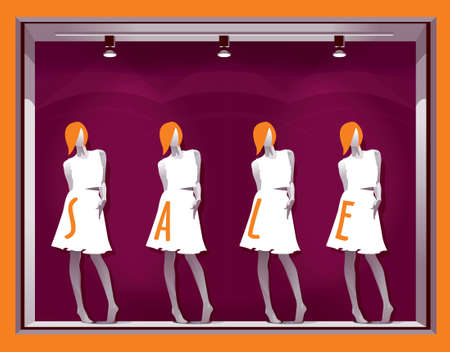 Purple showcase with women's mannequins in white T-shirts and skirts and the text SALE on them. Vector