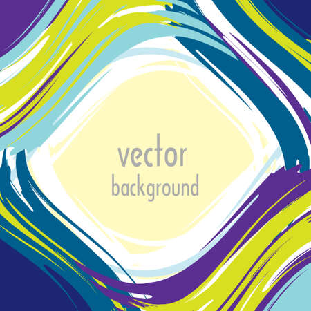 Abstract frame of blue, purple and yellow brush and white free space. Vector
