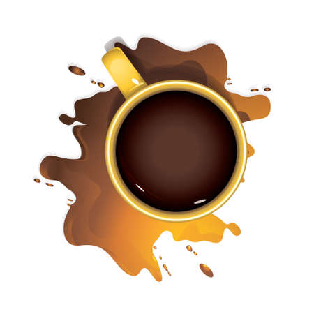 Yellow mug with coffee and a puddle of spilled coffee on a white background. Vector Çizim