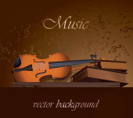 Still life with books and a violin on a wooden shelf, brown-gold background with notes. Vector
