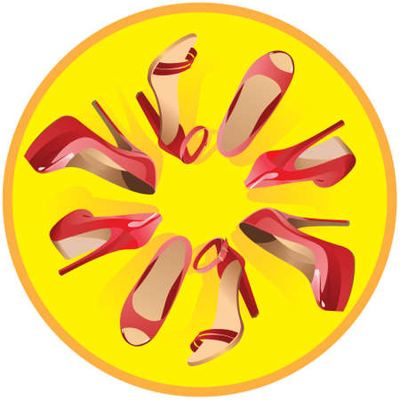Many beautiful women's red shoes and sandals on a yellow background. Vector.