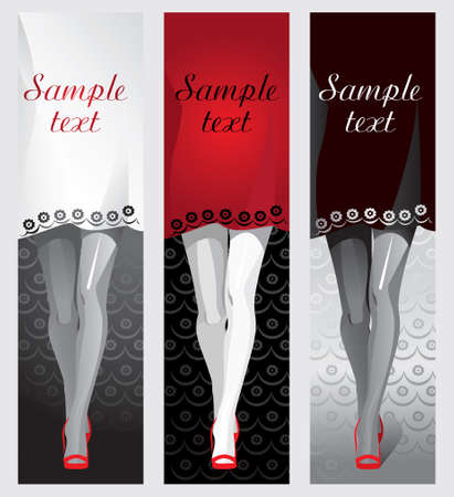 Female legs in pantyhose and red shoes, dress red, white, black as a background for the text. Packaging design for tights. Vector.  イラスト・ベクター素材