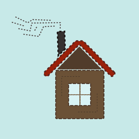 House Icon with Red Roof and Smoke Illustration