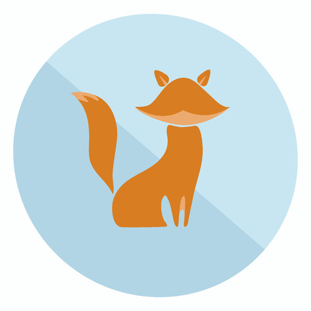 trickster: Excellent two-colored flat fox icon for your design