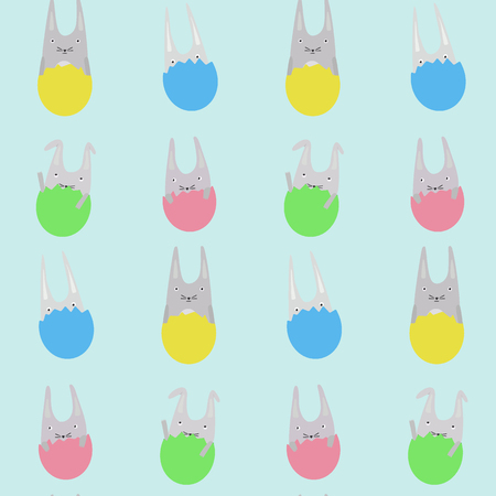 Cute childrens pattern for easter with rabbits in colorful eggs Illustration