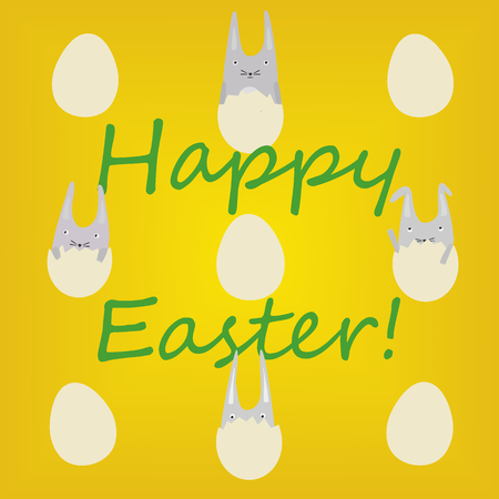 Greeting Card with Cute Little Rabbits in Eggs Illustration