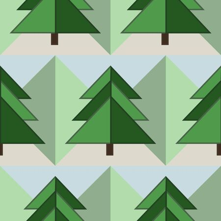 Good Seamless Geometrical Green Firs Forest Pattern