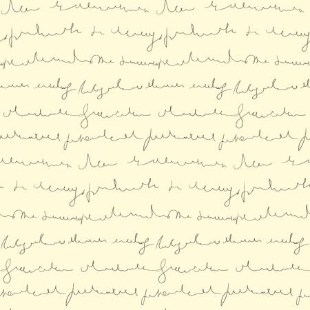 Seamless pattern of hand written text on beige background