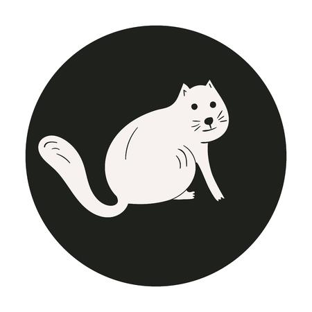 Monochrome cute white cat in black circle