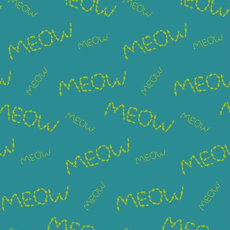 Meow pattern made of fishes on blue background Illustration