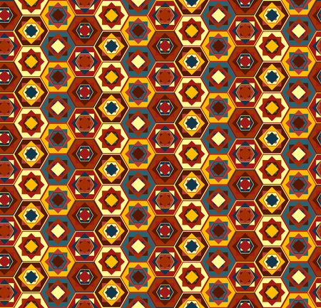 Colorful seamless geometrical pattern with hexagons and squares, east stile, marrakesh