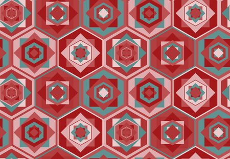 kilim: Seamless pink geometric pattern with hexagons and squares