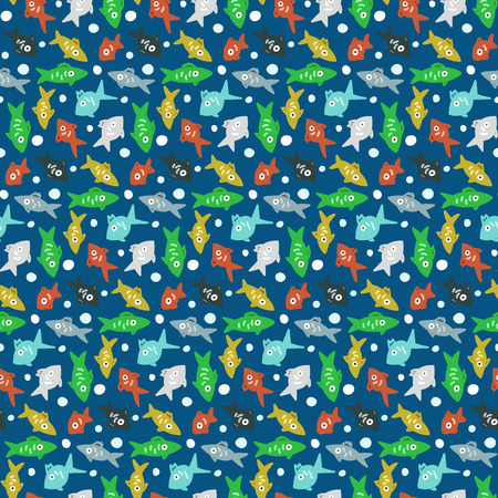 Cut colorful seamless pattern with fishes underwater