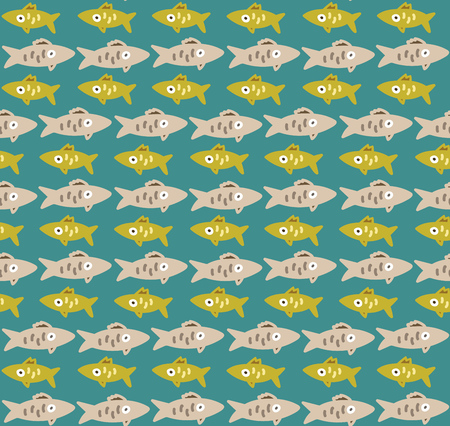 blue fish: Cute seamless pattern with yellow and gray rows of fishes