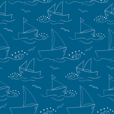 bretagne: Cute seamless pattern with outlined sailing-ships and waves