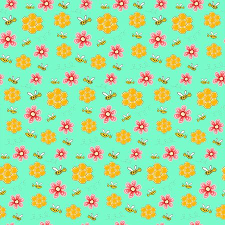 Colorful kids pattern with bees, flowers and honeycombs. Hand drawn seamless pattern in cartoon stile