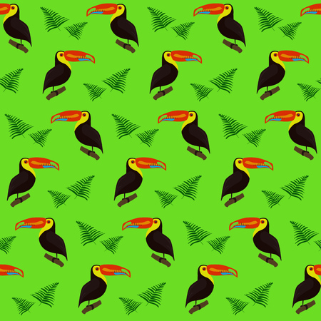 flier: Cute colorful pattern with toucans and tropical palm leaves