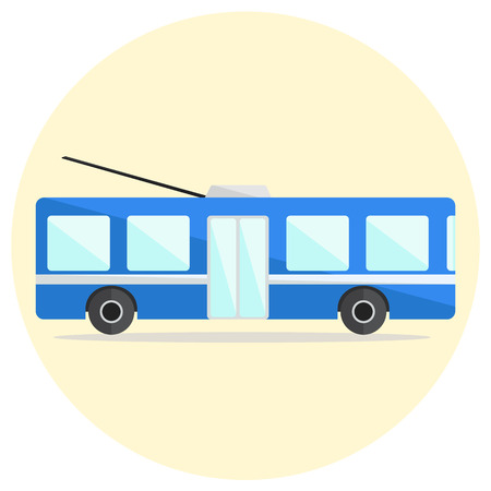 Colorful flat vector trolley bus icon, blue trolleybus icon Illustration