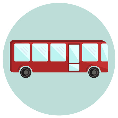 Cute colorful flat bus icon, red vector shuttlebus
