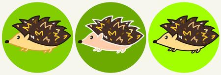 Cute cartoon colorful hedgehog icons, funny childish hedgehog