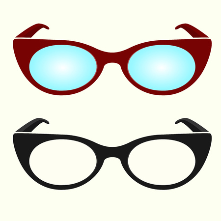 Oval hipster glasses icons, black and white, colorful