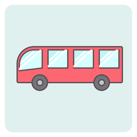 Flat outline colorful bus icon, vector shuttle sign