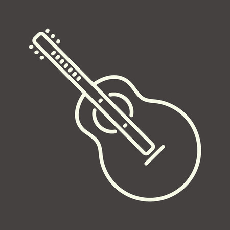 bard: White outline guitar icon, vector acoustic guitar symbol