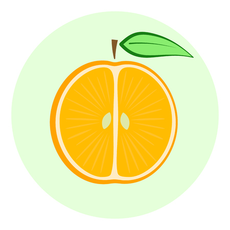 Half orange vector icon, orange split in a half, cut fruit