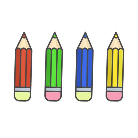Flat color pencil icons, colour pencils set