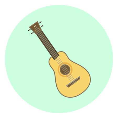 Flat colorful vector ukulele, small wooden hawaiian guitar