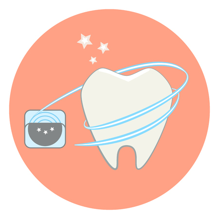 bacteria cartoon: Cute flat tooth and dental floss icon, dental vector illustration. tooth care Illustration