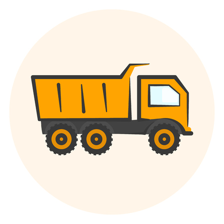 Colored dumper icon, simple orange dump track icon, transport symbol Illustration
