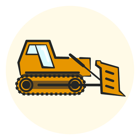 Colorful outline earth mover icon, yellow bulldozer icon, flat transport object