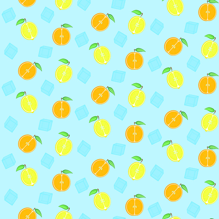 Pattern with cute oranges, lemons and ice cubes, seamless summer citrus with ice pattern
